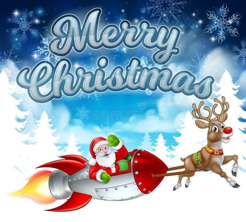 Vrolijke Kerstmis Santa Rocket Sleigh Background stock illustratie