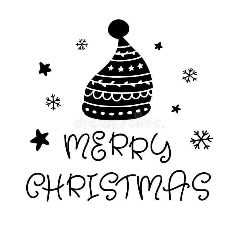 Vrolijke Kerstmis Skandinavische hand getrokken groetkaart met Santa Hat royalty-vrije illustratie