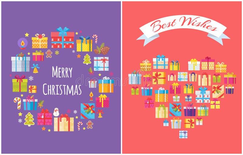 Vrolijke Kerstmis stelt Vastgestelde Vectorillustratie voor vector illustratie