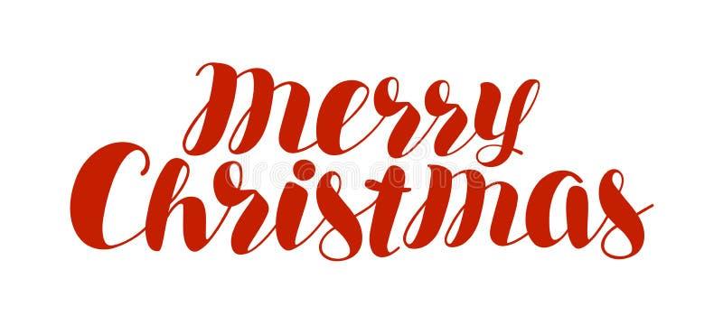 Vrolijke Kerstmis, tekst Kerstmis, vakantiesymbool Hand het van letters voorzien vector illustratie