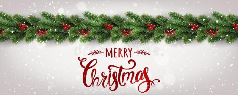 Vrolijke Kerstmis Typografisch op witte die achtergrond met boomtakken met bessen, lichten, sneeuwvlokken worden verfraaid vector illustratie