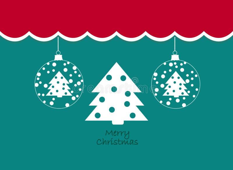 Vrolijke Kerstmis Uitstekende achtergrond met boom en Kerstmisballen Retro Vlak Ontwerp stock illustratie