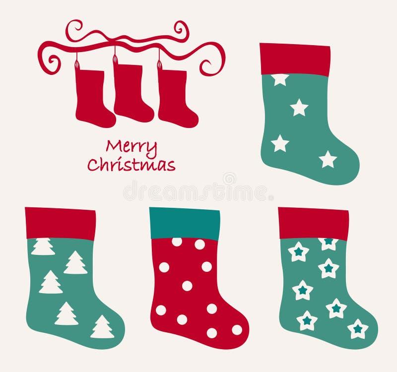 Vrolijke Kerstmis Uitstekende achtergrond met kousen Oude traditie Retro ontwerp stock illustratie