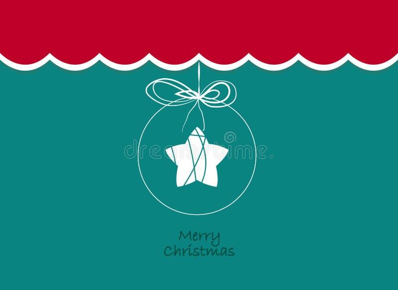 Vrolijke Kerstmis Uitstekende achtergrond met ster in een Kerstmisbal Retro Vlak Ontwerp stock illustratie