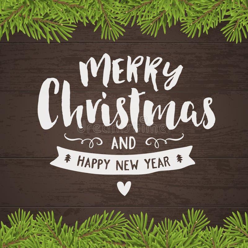 Vrolijke Kerstmis uitstekende hand-trekkende groetkaart vector illustratie