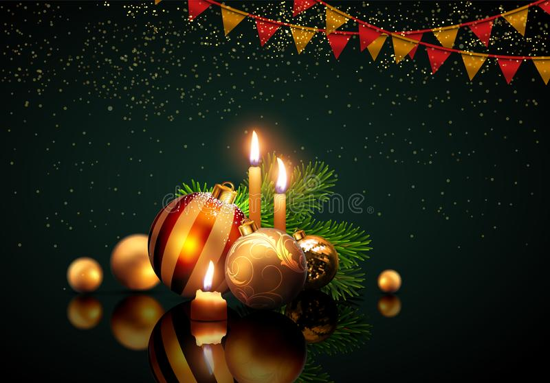 Vrolijke Kerstmis van de groetkaart en Gelukkig Nieuwjaar Gouden ballen a royalty-vrije illustratie