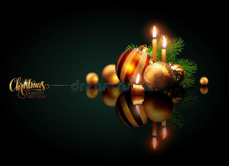 Vrolijke Kerstmis van de groetkaart en Gelukkig Nieuwjaar Gouden ballen a stock illustratie