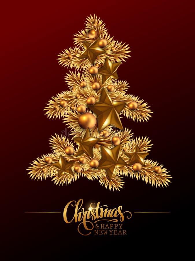 Vrolijke Kerstmis van de groetkaart en Gelukkig Nieuwjaar Gouden Christm vector illustratie