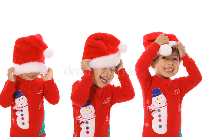 Vrolijke Kerstmis van drie kinderen stock fotografie
