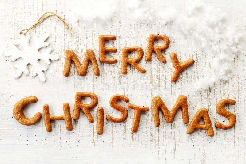 Vrolijke Kerstmis van peperkoekwoorden stock afbeelding