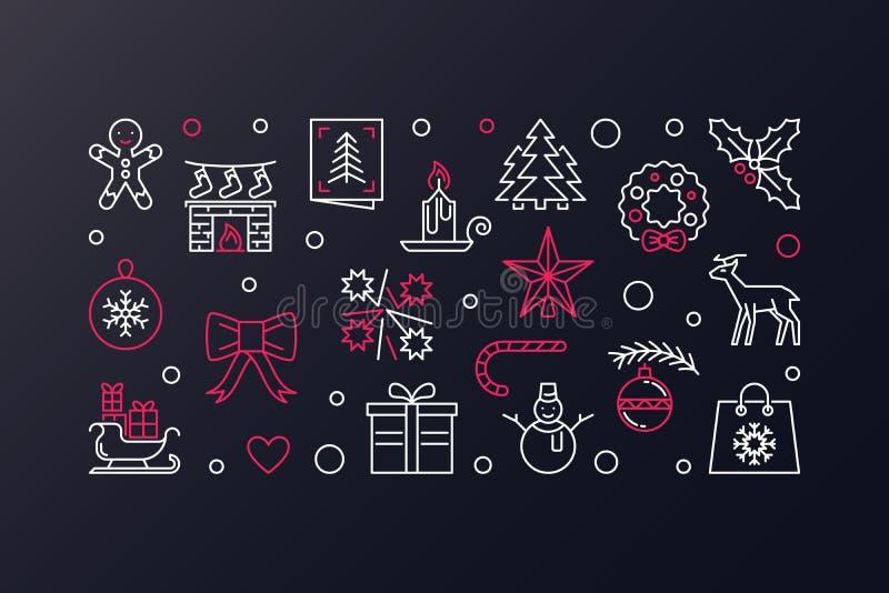 Vrolijke Kerstmis vector creatieve illustratie De banner van de Kerstmislijn stock illustratie