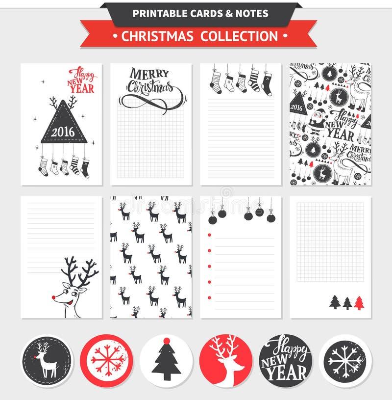 Vrolijke Kerstmis voor het drukken geschikte reeks royalty-vrije illustratie