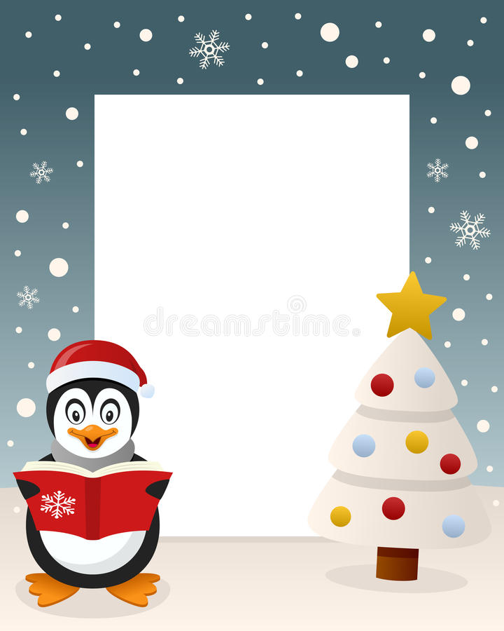 Vrolijke Kerstmis Witte Boom - Pinguïn vector illustratie