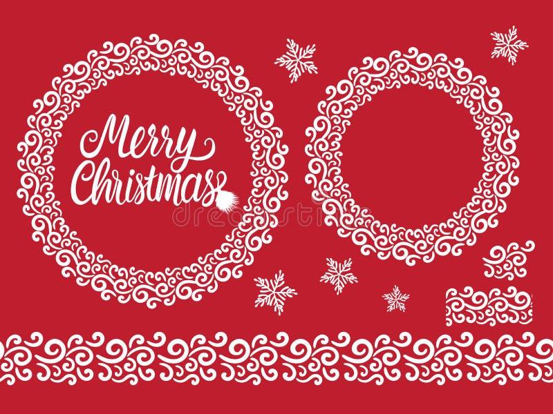 Vrolijke Kerstmis witte hand getrokken het van letters voorzien tekstinschrijving Het vectorkader van het het kantornament van de vector illustratie