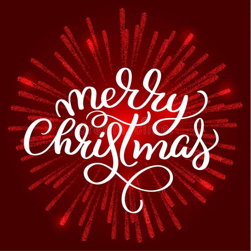 Vrolijke Kerstmis witte tekst op rode vuurwerkachtergrond Hand getrokken Kalligrafie die Vectorillustratie EPS10 van letters voor royalty-vrije illustratie