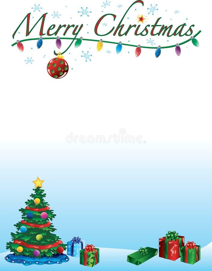 Vrolijke Kerstmisachtergrond en grens vector illustratie