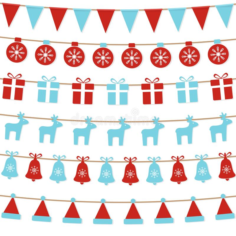 Vrolijke Kerstmisachtergrond met Kerstmisbunting vlaggen, ballen, giftdozen, rendieren, klokken, santahoed Heldere Kerstmisslinge vector illustratie