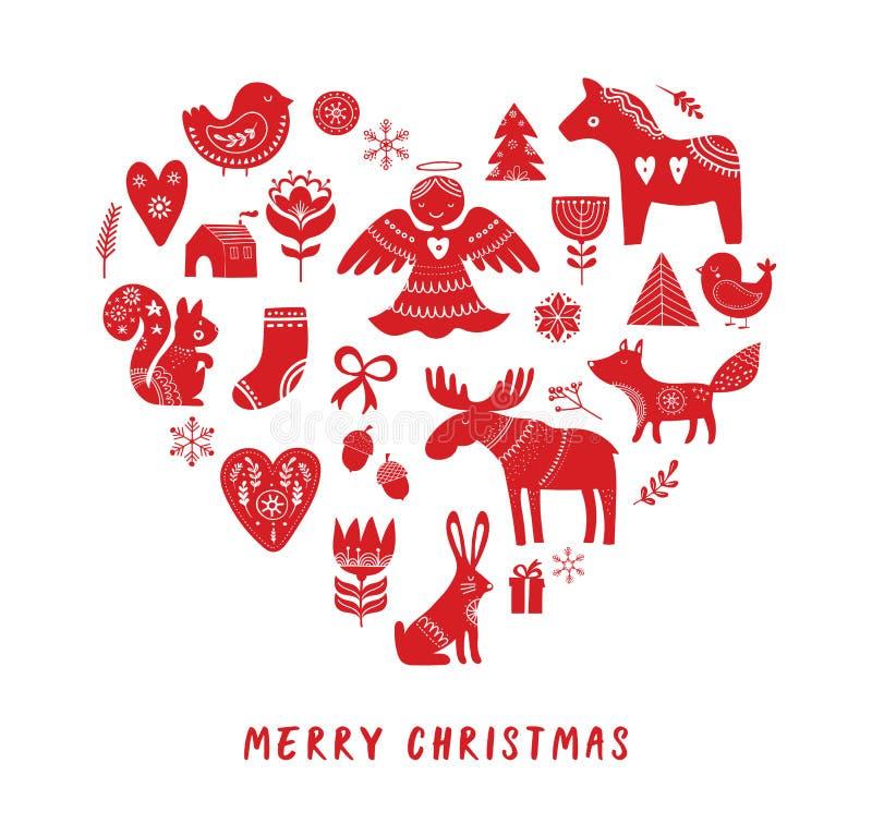 Vrolijke Kerstmisachtergrond met Noordse stijlillustraties royalty-vrije illustratie