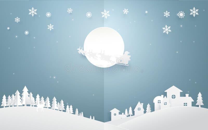 Vrolijke Kerstmisachtergrond Santa Claus die in een ar vliegen royalty-vrije illustratie