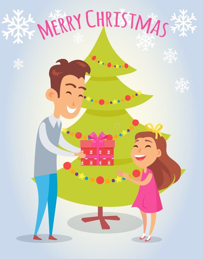 Vrolijke Kerstmisaffiche met Vader en Dochter royalty-vrije illustratie