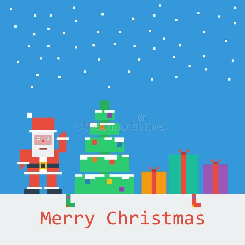 Vrolijke Kerstmisaffiche Vlak pixelart. stock afbeelding