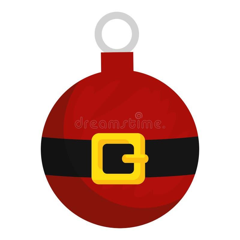 Vrolijke Kerstmisbal met de riem van de Kerstman stock illustratie