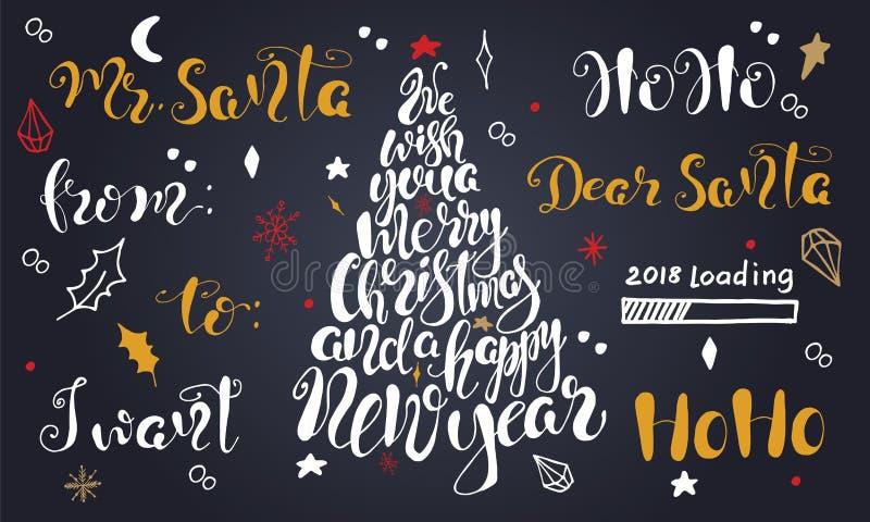 Vrolijke Kerstmiscitaten die vastgesteld Gelukkig Nieuwjaar 2018 van letters voorzien Typografieontwerpen royalty-vrije illustratie