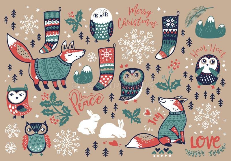 Vrolijke Kerstmishand getrokken elementen in beeldverhaalstijl Vector illustratie stock illustratie