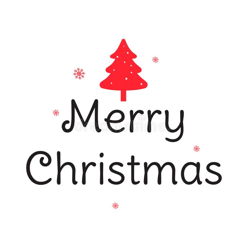 Vrolijke Kerstmishand het van letters voorzien inschrijving Prentbriefkaar met een rode Kerstboom Vectorillustratie voor groetkaa royalty-vrije illustratie