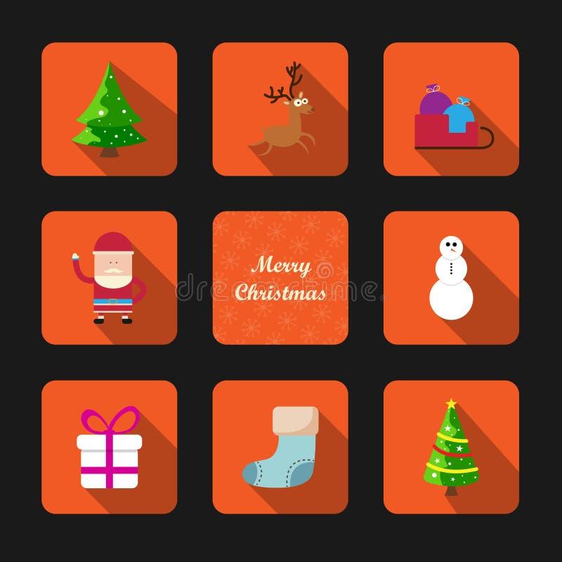 Vrolijke Kerstmishand het van letters voorzien inschrijving Prentbriefkaar met Kerstbomen, een gift, een hert, een sneeuwman Vect royalty-vrije illustratie
