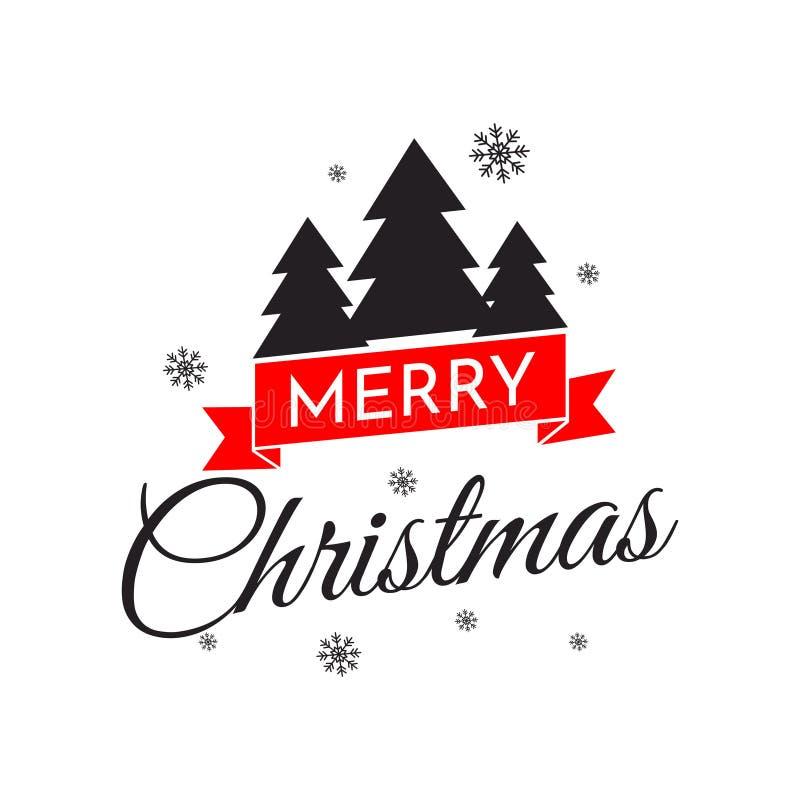 Vrolijke Kerstmishand het van letters voorzien inschrijving Prentbriefkaar met Kerstbomen en sneeuwvlokken Vectorillustratie voor vector illustratie