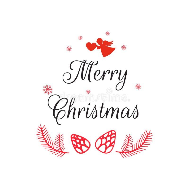 Vrolijke Kerstmishand het van letters voorzien inschrijving Prentbriefkaar op witte achtergrond Vectorillustratie voor groetkaart royalty-vrije illustratie