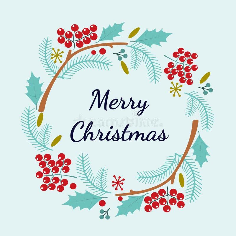 Vrolijke Kerstmishand het van letters voorzien inschrijving Voor het drukken geschikte prentbriefkaar voor de wintervakantie Vect stock illustratie