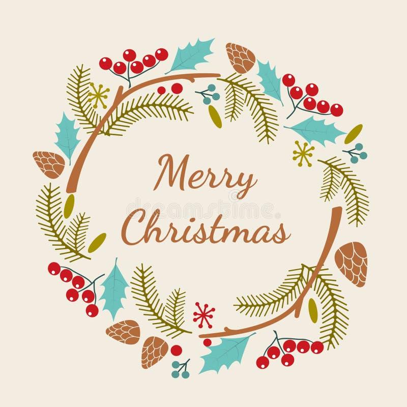 Vrolijke Kerstmishand het van letters voorzien inschrijving Voor het drukken geschikte prentbriefkaar voor de wintervakantie Vect vector illustratie