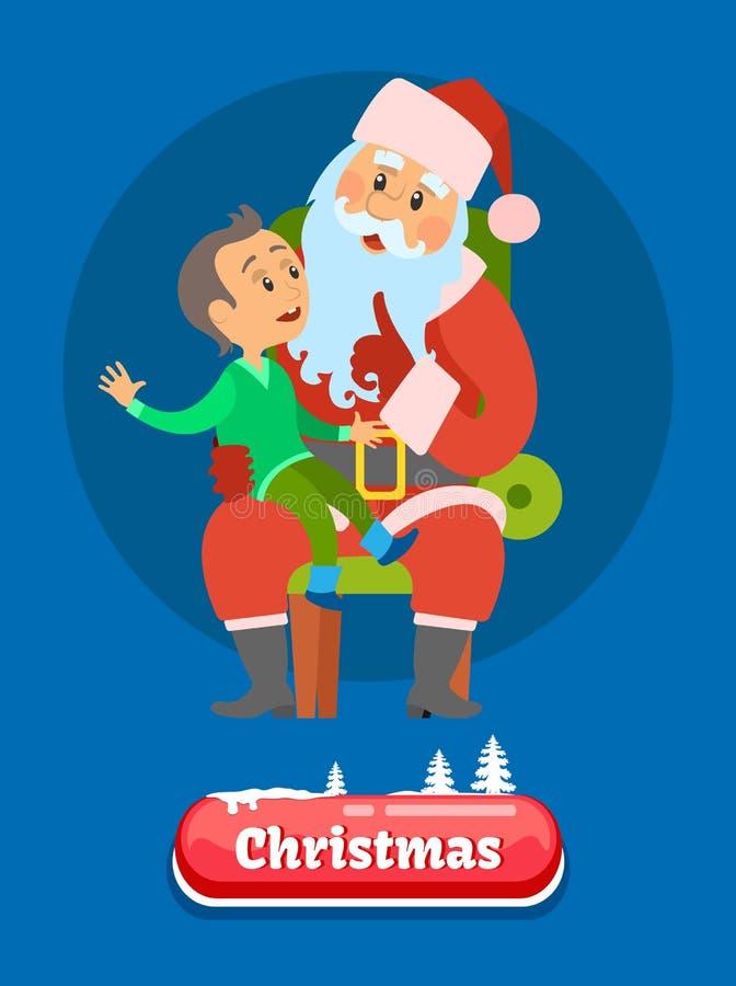Vrolijke Kerstmisjong geitje het Vertellen Dromen aan Santa Claus vector illustratie