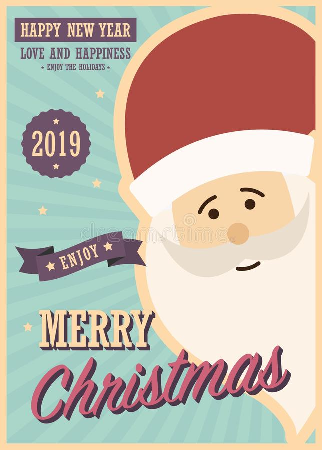 Vrolijke Kerstmiskaart met de Kerstman stock illustratie