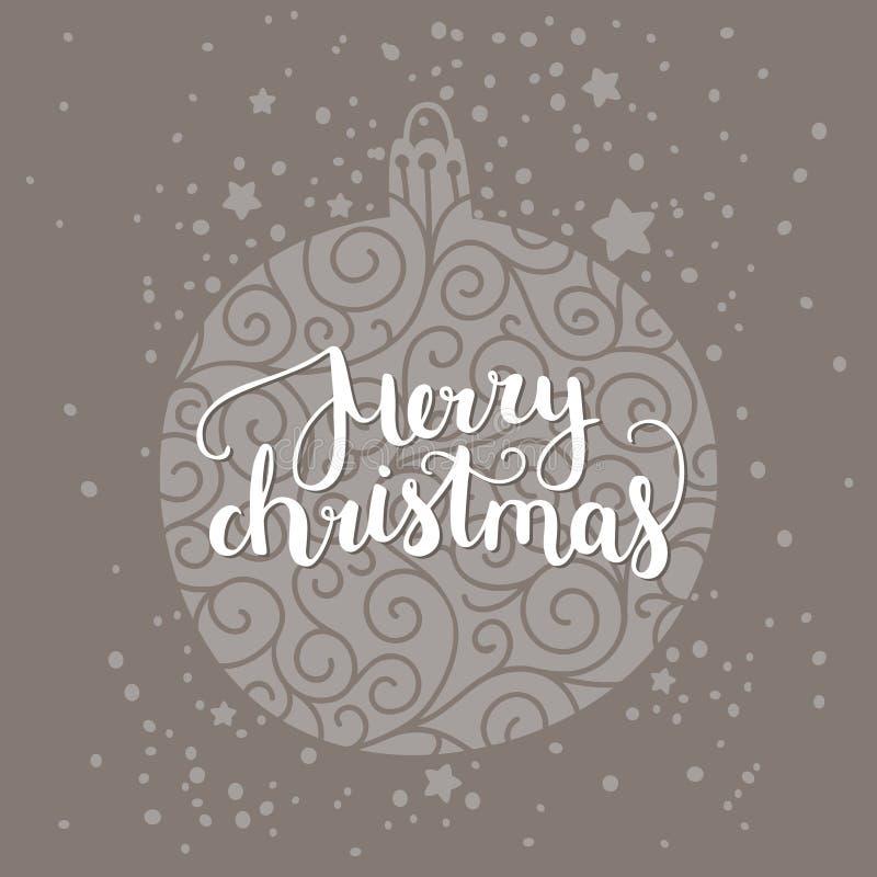 Vrolijke Kerstmiskaart met hand het getrokken van letters voorzien royalty-vrije illustratie
