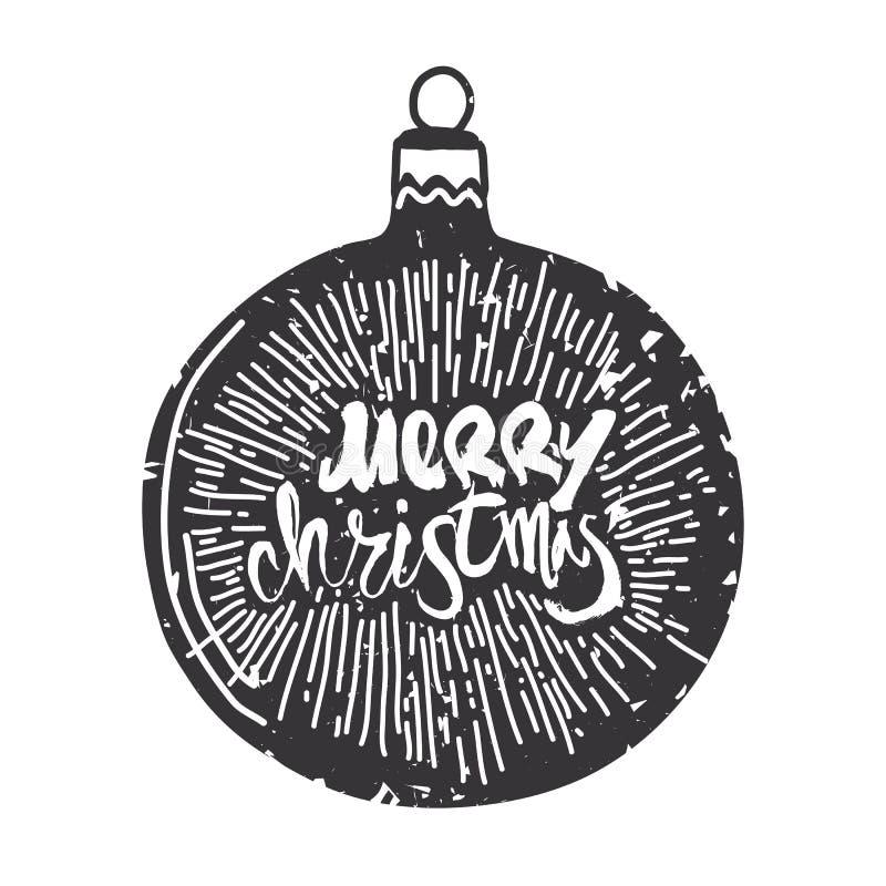 Vrolijke Kerstmiskalligrafie op bal Met de hand geschreven moder royalty-vrije illustratie