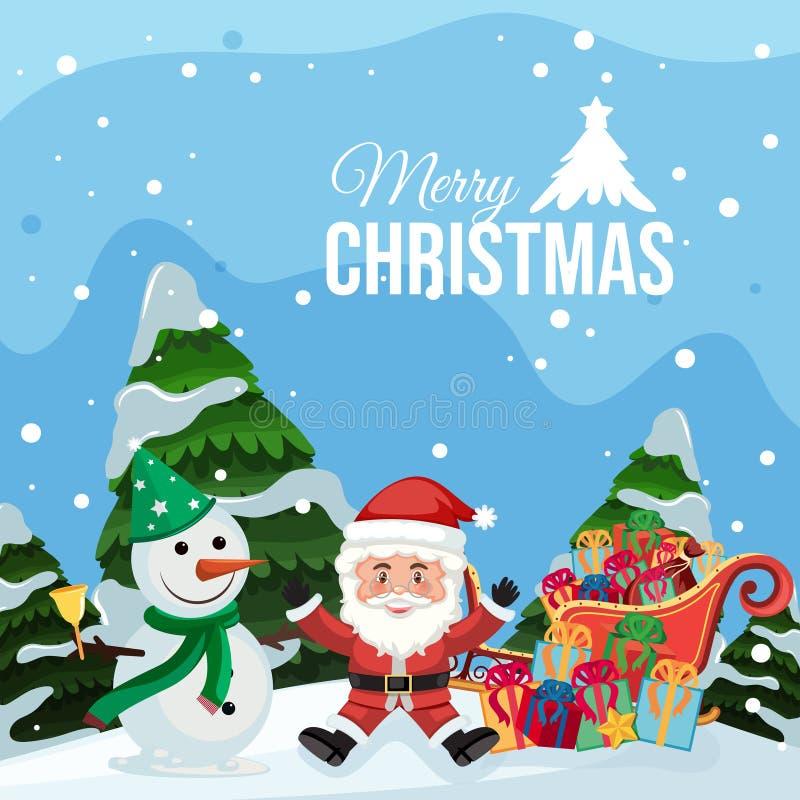 Vrolijke Kerstmiskerstman en sneeuwman stock illustratie