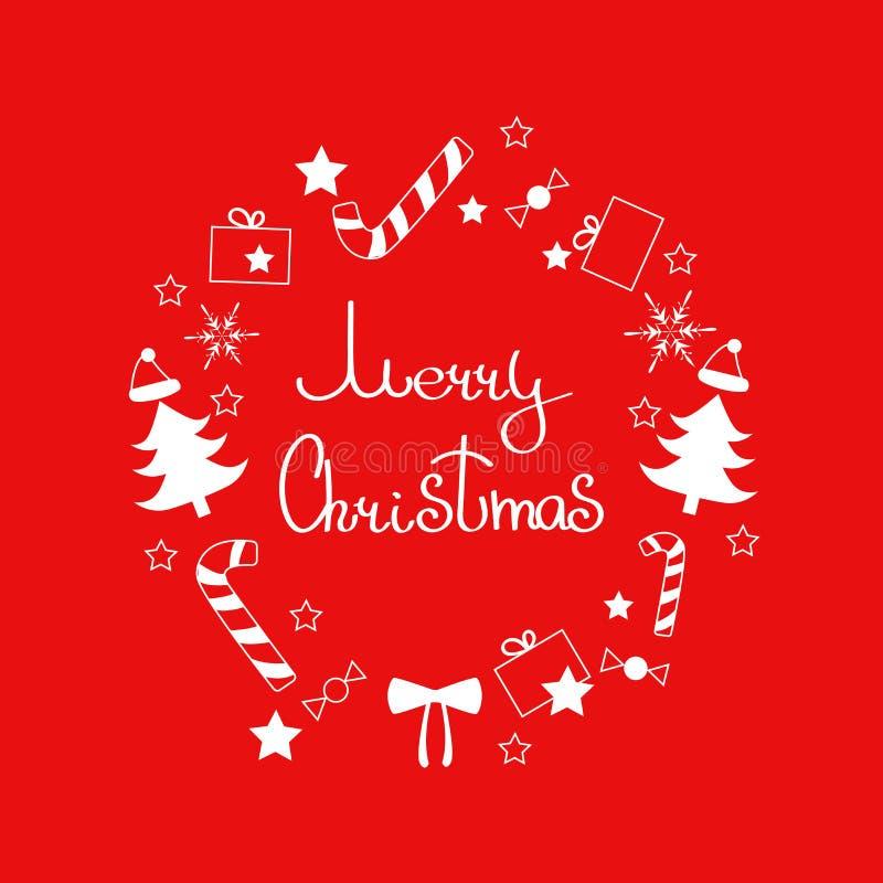 Vrolijke Kerstmiskroon met vakantiedecoratie: suikergoed, suikergoedriet, sneeuwvlok, heden, Kerstmisboom, de hoed van santa stock illustratie