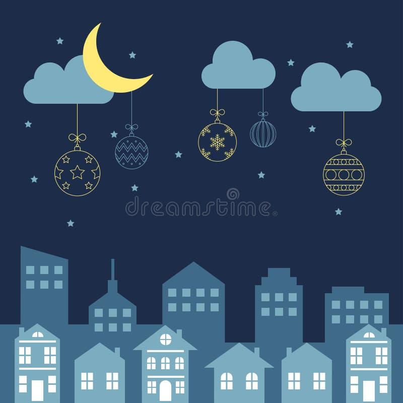 Vrolijke Kerstmisnacht in de stad vector illustratie