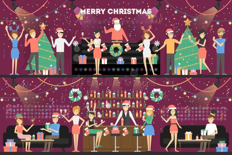 Vrolijke Kerstmispartij stock illustratie
