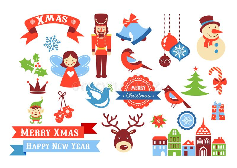 Vrolijke Kerstmispictogrammen, retro stijlelementen en illustratie, markeringen en etiketten royalty-vrije illustratie
