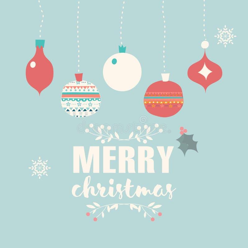 Vrolijke Kerstmisprentbriefkaar met ballendecoratie, sneeuwvlokken stock illustratie