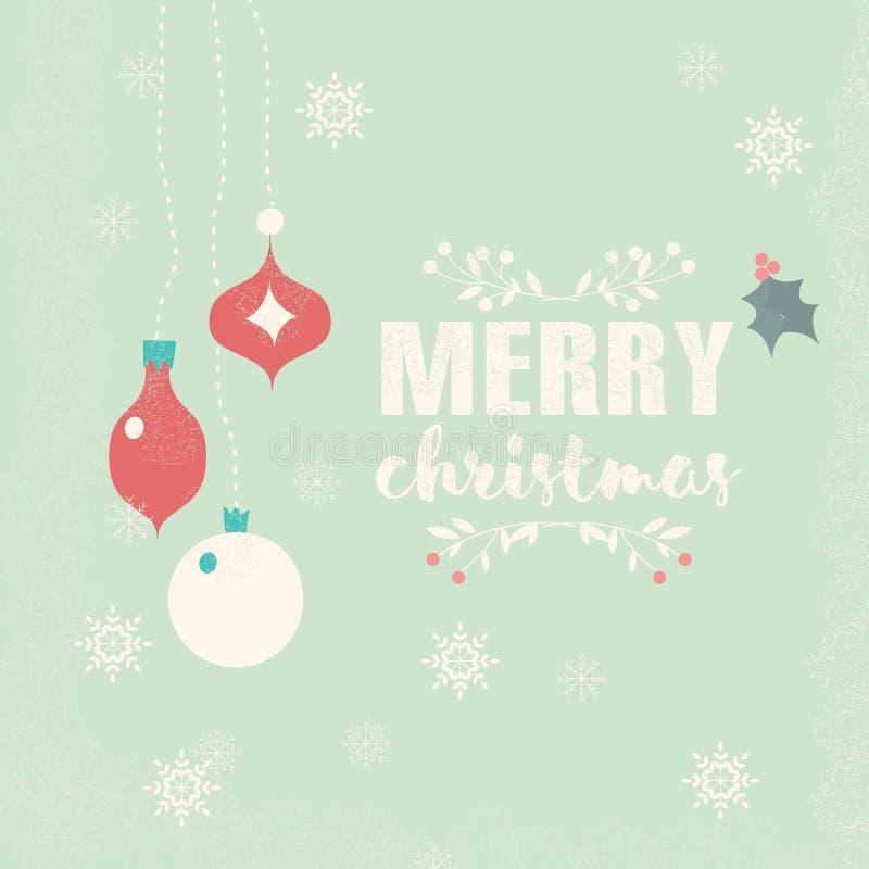 Vrolijke Kerstmisprentbriefkaar met ballendecoratie, sneeuwvlokken vector illustratie