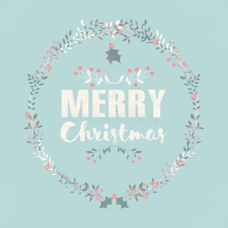 Vrolijke Kerstmisprentbriefkaar met het van letters voorzien en bloemenkronen stock illustratie
