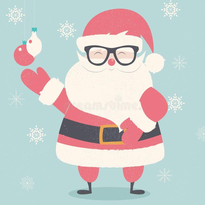 Vrolijke Kerstmisprentbriefkaar met hipster Santa Claus die glazen dragen royalty-vrije illustratie
