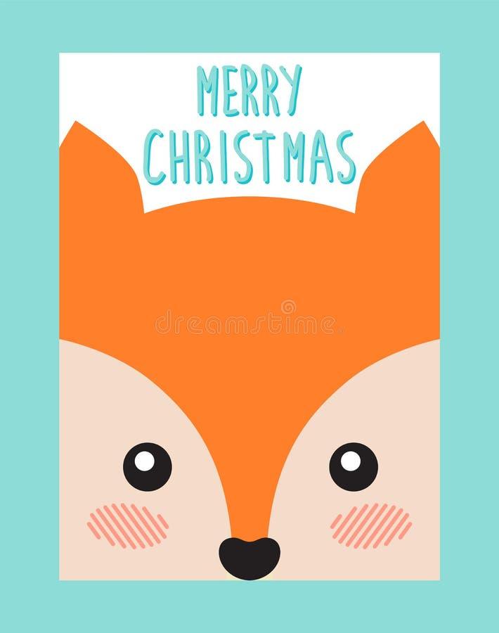 Vrolijke Kerstmisprentbriefkaar met Leuke Vos of Eekhoorn stock illustratie