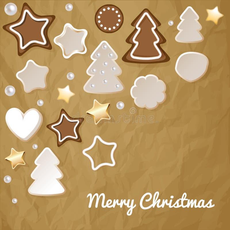 Vrolijke Kerstmisprentbriefkaar met peperkoek & koekjes op een verfrommelde document bruine achtergrond royalty-vrije illustratie