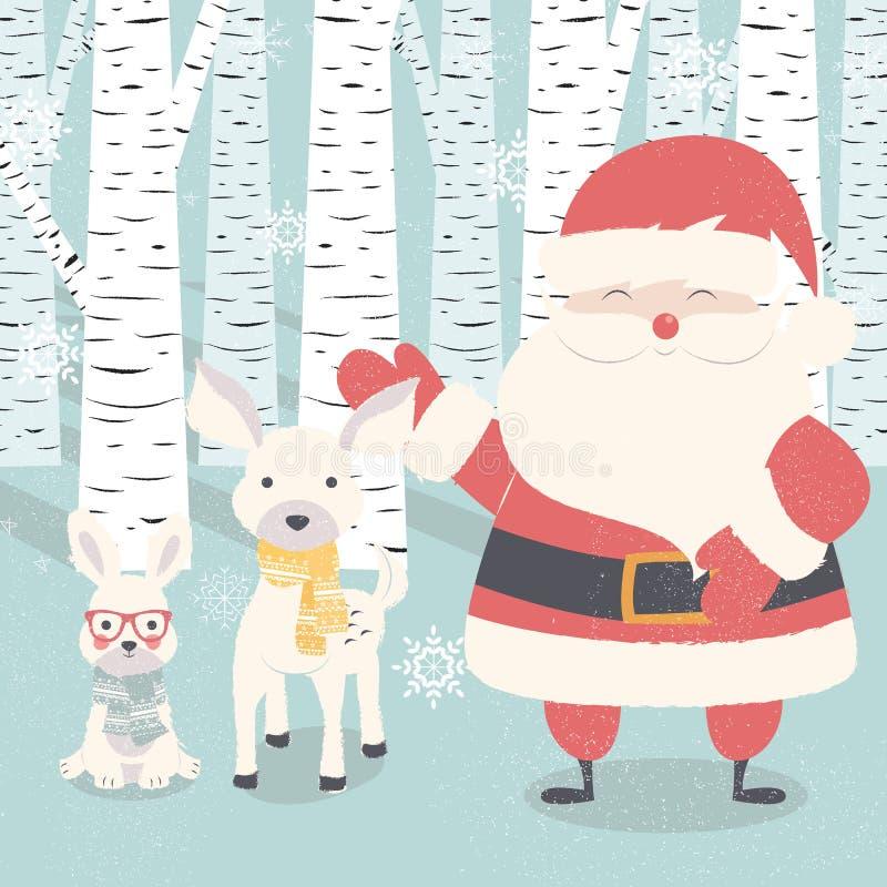 Vrolijke Kerstmisprentbriefkaar met Santa Claus, herten, konijn in bos vector illustratie